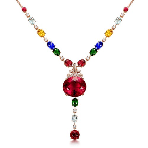 Pull the pigeon blood red Tourmaline Pendant Necklace
