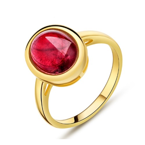 Brazil gold natural red tourmaline ring